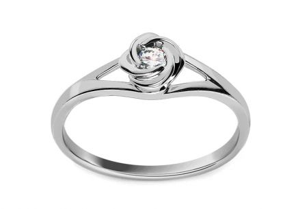 Engagement ring with 0.080 ct Rose diamond