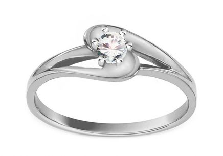 Engagement Ring with 0,132 ct Diamond Crown white