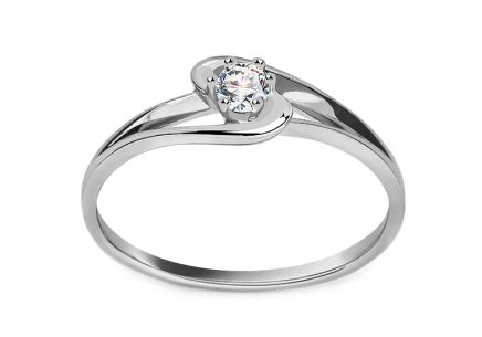 Engagement ring with 0.150 ct diamond Crown white