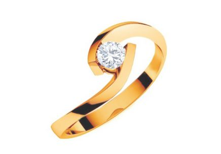 Engagement ring with 0.150 ct diamond Lines Of Love Yellow