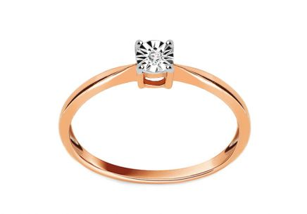 Engagement Ring with Brilliant 0,010 ct Mariya pink