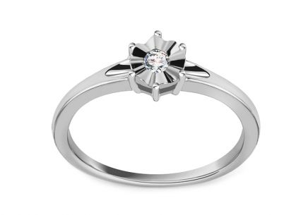 Engagement Ring with Diamond 0,060 ct In Love