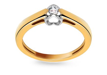 Engagement Ring with Diamond 0,080 ct Romantic Hearts