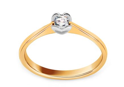 Engagement Ring with Diamond 0,090 ct Little Heart