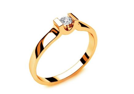 Engagement Ring with Diamond 0,100 ct Power Of Love 1 Yellow