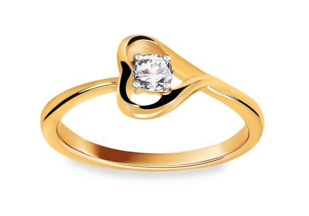 Engagement Ring with Diamond 0,120 ct Diamond Heart
