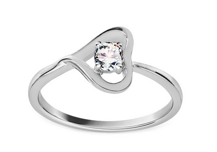 Engagement Ring with Diamond 0,120 ct Diamond white Heart