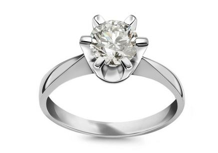 Engagement Ring with Diamond 1.040 ct GIA, H, Si1, Nela Collection