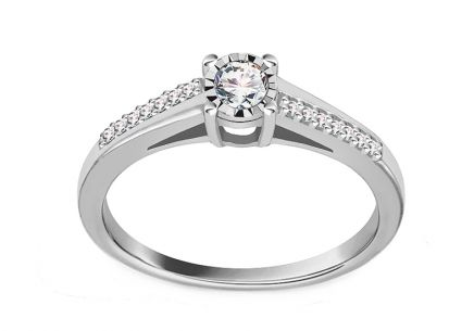 Engagement Ring with Diamonds 0,200 ct Illusion Vision white
