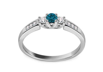 Engagement Ring with Diamonds 0,230 ct Blue diamond