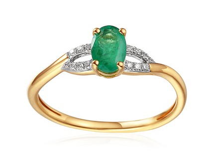Engagement Ring with Emerald and Diamonds 0.030 ct Kassia 2