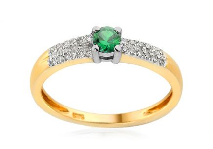 Engagement Ring with Emerald and Diamonds Idalia