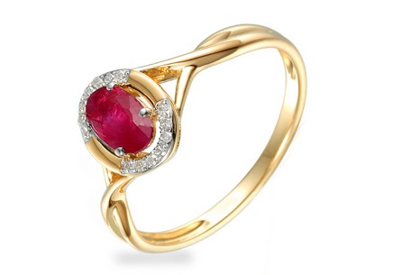 Engagement Ring with Ruby and Diamonds 0.040 ct Kesidy 3