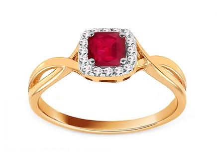 Engagement Ring with Ruby and Diamonds 0.070 ct Cailey 3