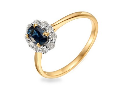 Engagement Ring with Sapphire and Diamonds 0.040 ct Hallie