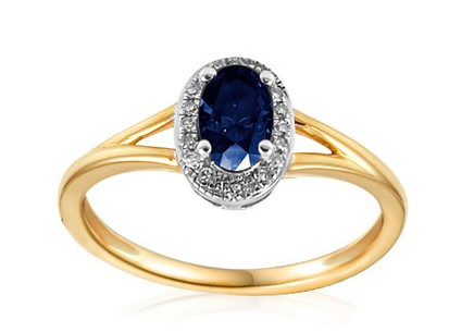 Engagement Ring with Sapphire and Diamonds Charlot