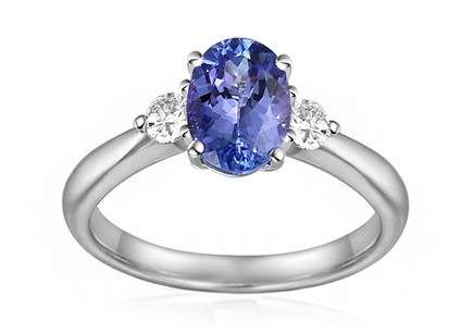 Engagement Ring with Tanzanite and Diamonds 0.090 ct Alla