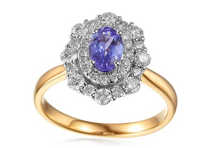 Engagement Ring with Tanzanite and Diamonds 0.820 ct Rive