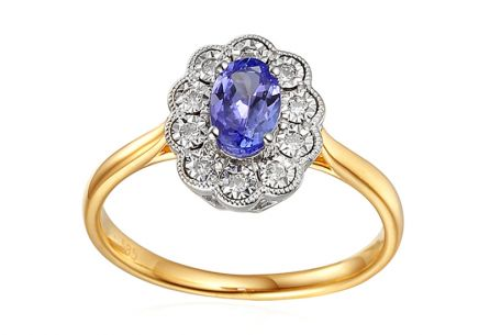 Engagement Ring with Tanzanite and Diamonds Tallis
