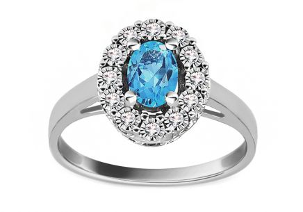 Engagement Ring with Topaz and Diamonds 0.050 ct Caliana 2