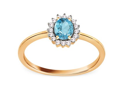 Engagement Ring with Topaz and Diamonds 0.070 ct Naula
