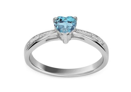 Engagement ring with topaz heart and diamonds Lailie white 0.030 ct