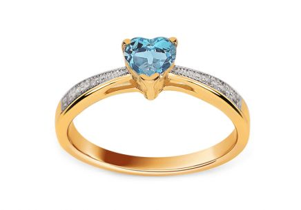 Engagement ring with topaz heart and Lailie 0.030 ct diamonds