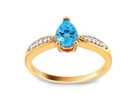 Engagement Ring with Topaz Tear and Diamonds 0.040 ct Nayra