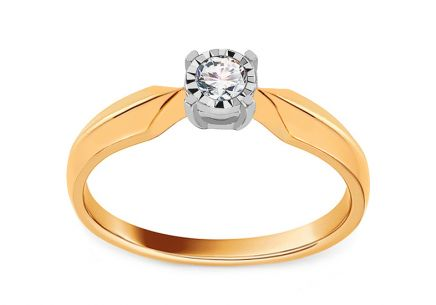 Gold and Diamond Engagement Ring 0.090 ct