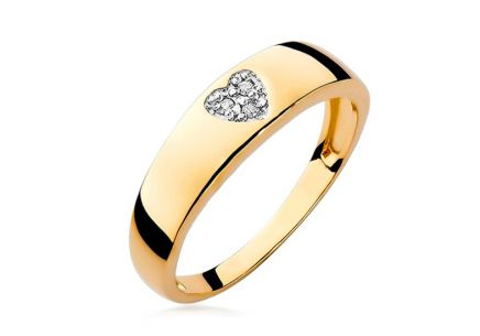 Gold and Diamond Engagement Ring with Heart Lauriane