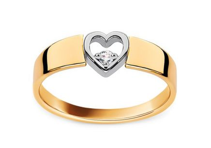 Gold and Diamond Engagement Ring with Heart Roxane