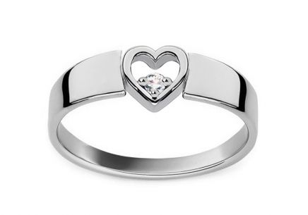 Gold and Diamond Engagement Ring with Heart Roxane white