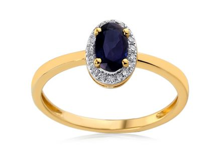 Gold and Diamond Ring with Sapphire