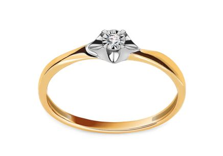 Gold engagement ring with 0.020 ct Niobe diamond
