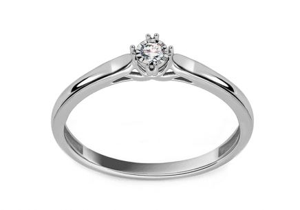 Gold engagement ring with 0.040 ct Maegan diamond