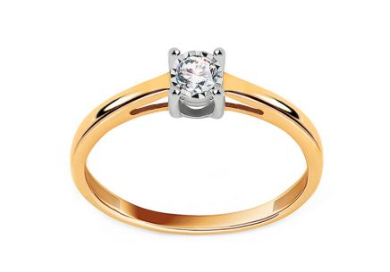 Gold engagement ring with 0.100 ct Clara diamond