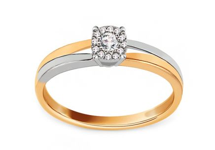 Gold engagement ring with 0.100 ct Muriel diamonds