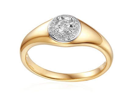 Gold engagement ring with 0.130 ct Mallory diamonds