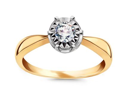 Gold engagement ring with 0.150 ct Wynon diamonds