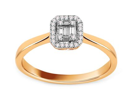 Gold Engagement Ring with Baguette Diamonds 0.090 ct Esme