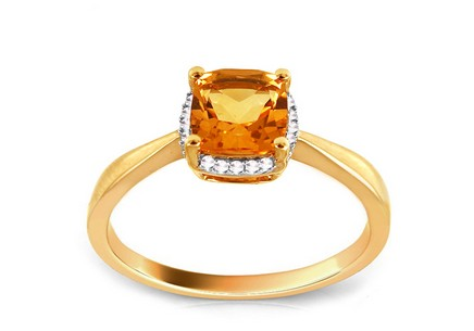 Gold Engagement Ring with Citrine and Diamonds Elodie