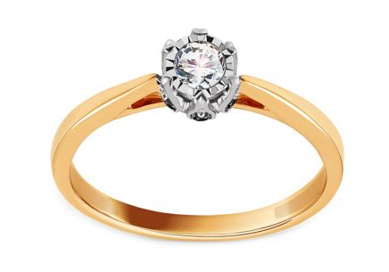 Gold Engagement Ring with Clear and Black Diamonds 0.150 ct Lisle