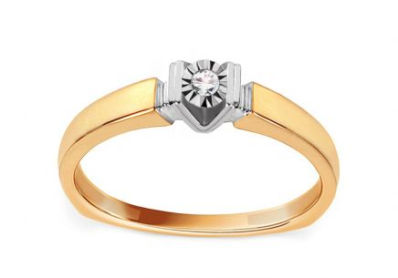 Gold Engagement Ring with Diamond 0.010 ct Idella 2