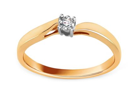Gold Engagement Ring with Diamond 0.020 ct Cherise