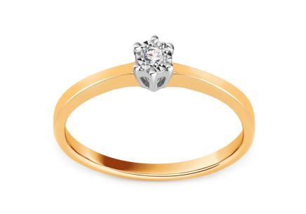 Gold Engagement Ring with Diamond 0.020 ct Kamia