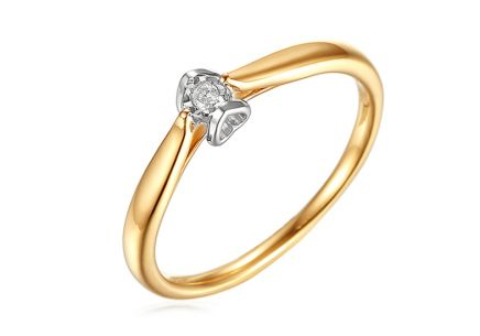 Gold Engagement Ring with Diamond 0.020 ct Layra