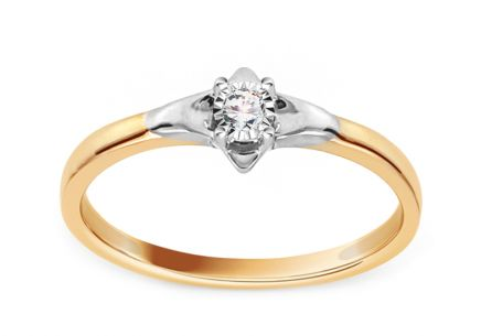 Gold Engagement Ring with Diamond 0.020 ct Lillia