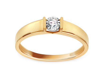 Gold Engagement Ring with Diamond 0.050 ct Betsey