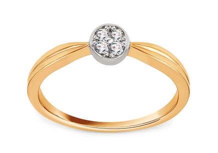 Gold Engagement Ring with Diamond 0.060 ct Acasia