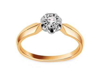 Gold Engagement Ring with Diamond 0.070 ct Atalaya